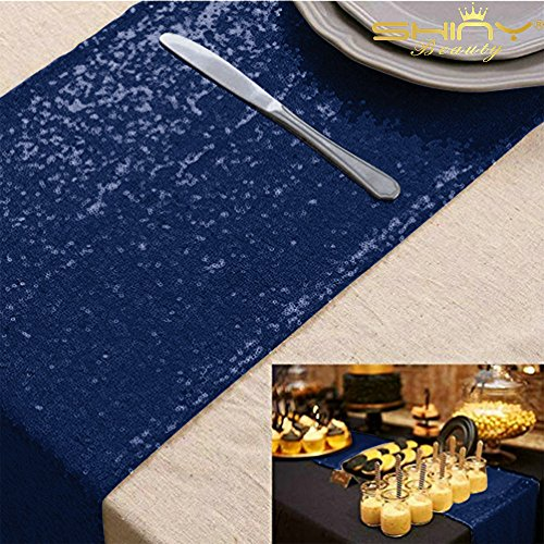 ShinyBeauty 12x72-Inch Rectangle-Sequin Table Runner- for Wedding/Party/Decor (12x72-Inch) (Navy Blue)