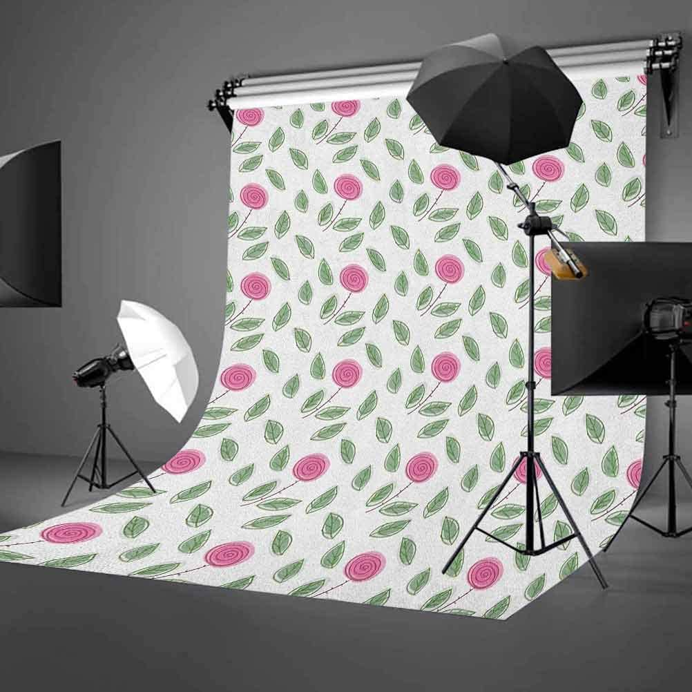 8x12 FT Vinyl Photography Backdrop,Composition of Blooming Flowers Abstract Colorful Design with Circles and Rhombus Background for Child Baby Shower Photo Studio Prop Photobooth Photoshoot