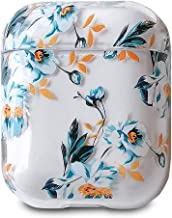 AirPods Case, J.west Cute Clear Plastic Shockproof Dust Proof Hard Proective Case Cover Accessories for Apple Airpods 2 &1 Cases for Girls Women Air pods(Gardenia)