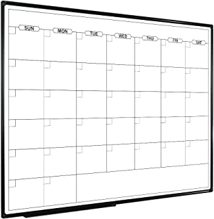 JILoffice Dry Erase Calendar Whiteboard - Magnetic White Board Calendar Monthly 48 X 36 Inch, Black Aluminium Frame Wall Mounted Board for Office Home and School