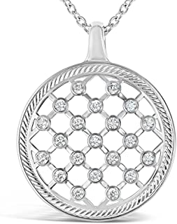 """Amorucci Rhodium Plated, Sterling Silver Pendant Necklaces, Unique, Funky Halo Pendants and Charms with Delicate Chain Necklaces, 17.5"""" Long - Jewelry for Women"""