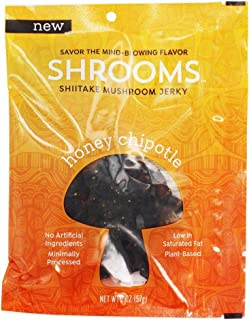 Shrooms Vegan Shiitake Mushroom Jerky | Dairy Free, Superfood Snack with No Trans Fat or Preservatives | Honey Chipotle