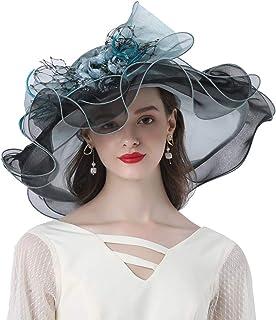KN Accessories Women Hats Rose Flower Decoration Wide Brim Occasion Event Kentucky Derby Church Dress Sun Hat