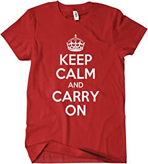 Womens Keep Calm and Carry On T-Shirt Red K C Green British Wwii Tee Chive C O