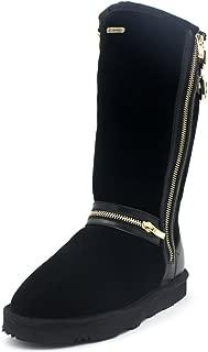 K.Signature Women's Ellie Tall Sheepskin Winter Zipper Boots