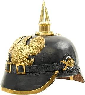Imperial German Spiked Pickelhaube Officer Helmet- Black Leather & Brass