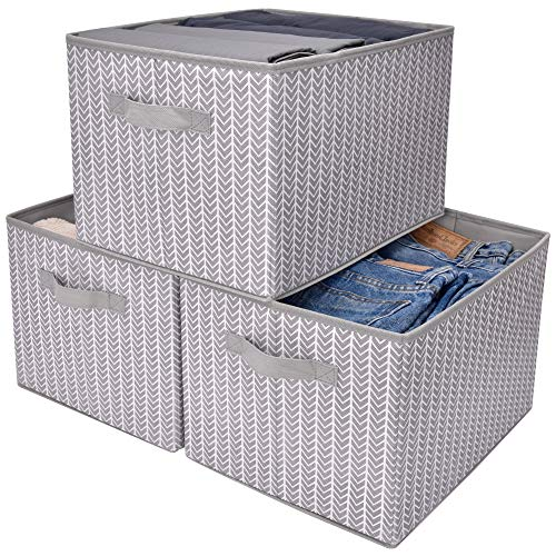 GRANNY SAYS Storage Bin for Shelves, Fabric Closet Organizer Shelf Cube Box with Handle Home Office Storage Baskets, Gray/White, Extra Large, 3-Pack