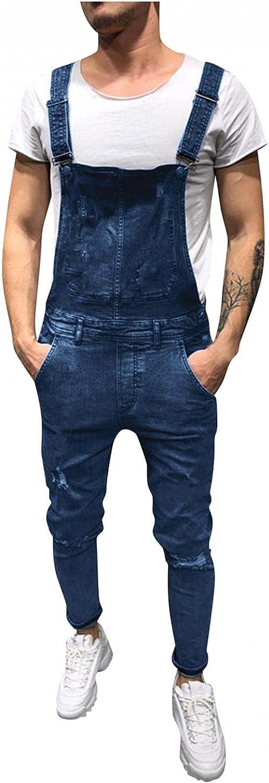 Men's Denim Bib Overalls Loose fit Holes Ripped Jumpsuits Distressed Suspender Pants Romper Casual Playsuit