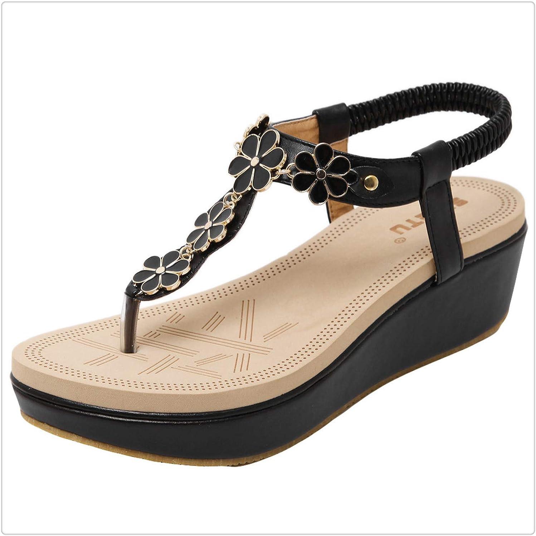 HAHUTG& Womens Sandals Clip Toe Comfortable Flip Flop Elastic Creepers Beach Calzado