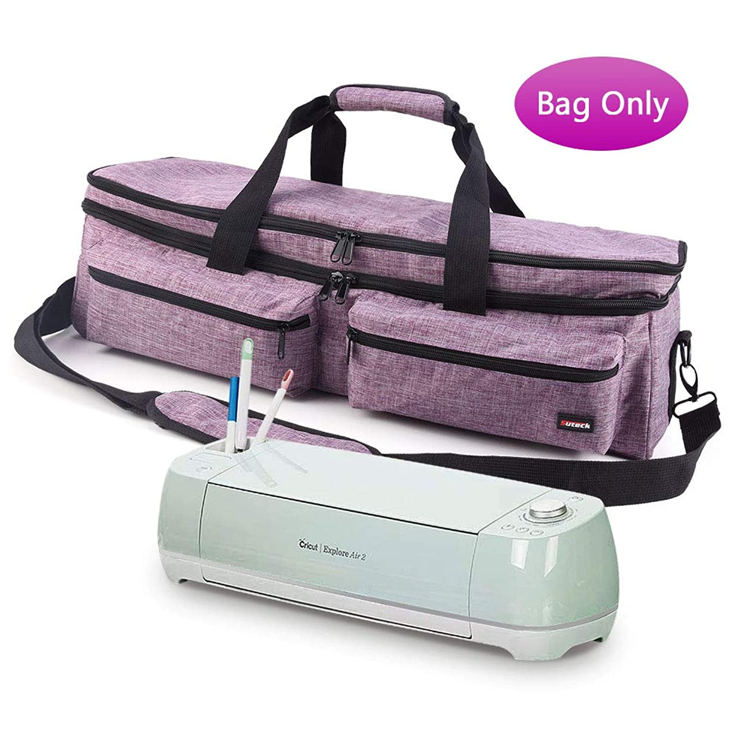 Craft Double-Layer Tote Bag Compatible with Cricut Explore Air, Air 2, Maker and Silhouette Cameo 3, Tool Carrying Case for Cutting Machine and Supplies Travel Bag, Purple