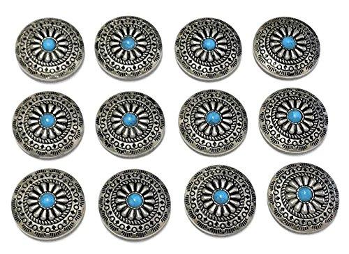 ShanTrip 12個 レザークラフト コンチョ ボタン セット ターコイズ ブルー 財布 バッグ 装飾 パーツ 青