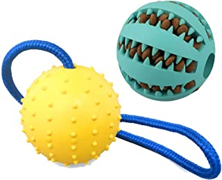Valuri Pets - 2 Toys - Food Dispensing Dog Toy w/Teething Chew Rope, Interactive Dog Toy, Blue & Green Balls for Dogs, Dog Toys for Teething, The Ultimate Puppy Toys Dispenser