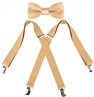 Kat Cheung Bahar 2PCS Bow Tie And Suspenders Set For Kids Boys 4 Clips Adjustable and Elastic Braces X Shape (Gold)