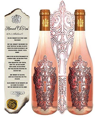 100% Rosewein 2er Weingeschenk-Set Moment Clé Rosé limitiert auf 5.000 Flaschen Bordeaux Frankreich Jany-Whispering für Frauen, Weinliebhaber
