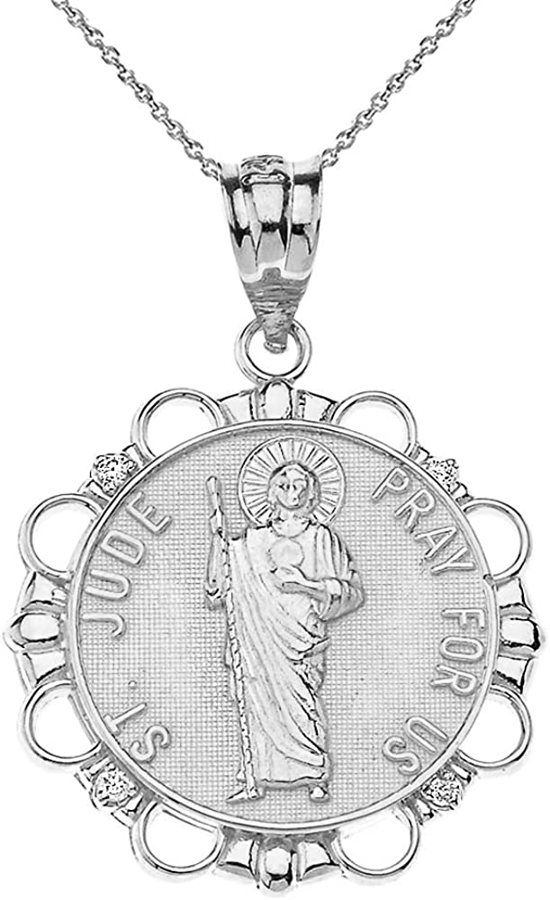 Attention brand mart Sterling Silver St. Jude Thaddeus Pray For Round Us CZ Medal Nec