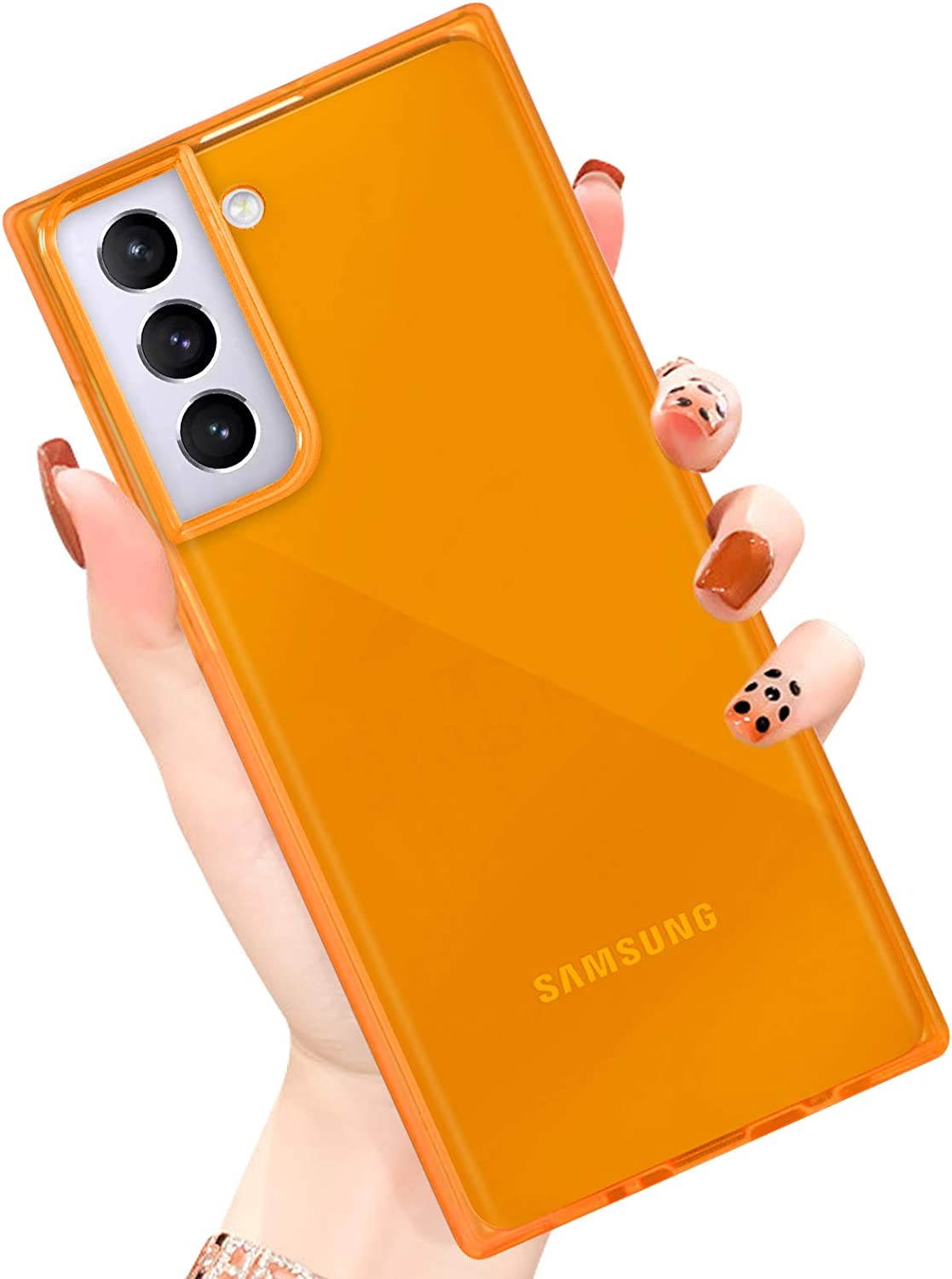 PERRKLD Compatible with Samsung Galaxy S21 Plus Case Square Soft TPU Bumper Slim Clear Transparent Reinforced Corners Shockproof Phone Case for Samsung Galaxy S21 Plus -Clear Orange