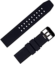 for Luminox 23mm Rubber Silicone Watch Band Strap Replacement with Black/Silver Buckle for Casio Timex Seiko Luminox 3050 8800 and 3950 Series - Luminox Watch Band