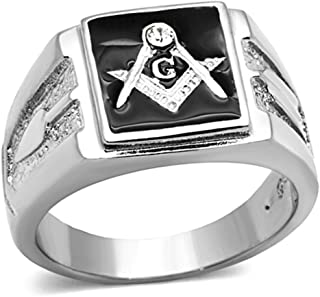 Men's Stainless Steel 316 Crystal Masonic Lodge Freemason Ring Band Sz 8-13