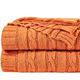NTBAY Cotton Cable Knit Twin Blanket, Super Soft Warm Multi Color Bed Blanket, 68x90 Inches, Orange