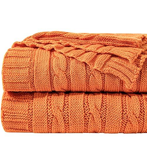 NTBAY Manta Tejida con Cable de Algodón, Manta de Cama Multicolor Súper Suave y Cálida, 130 x 170 cm, Naranja