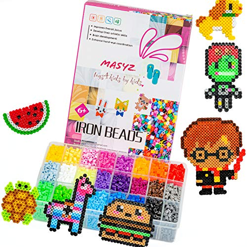 Fuse Beads Kit Perler Beads Kit 5300 Pc. 24 Bright Colors Beads in Big Storage Case 2 Perler Beads Pegboards 3 Keychains 2 Tweezers Iron Beads Paper Best for Birthdays Holiday Cold Days Summer Days