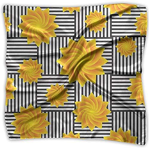 Merle House Yellow Flower Spiral Black Stripe Lady Bedruckter quadratischer Schal Kopfschmuck Hals Satinschals Wickeltuch Halstuch