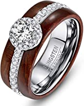 NUNCAD Women's Wedding & Engagement Ring 925 Sterling Silver Halo Set 1.01ct Cubic Zirconia Combined with Koa Wood Tungsten Ring Size 5 to 10