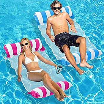 Inflatable Pool Float 2-Pack Adult Pool Floaties Multi-Purpose 4-in-1 Swimming Water Floating Rafts   Saddle Lounge Chair Hammock Drifter  for Pool Lake Beach River