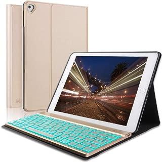 iPad Keyboard Case for for for New 2018 iPad, 2017 iPad, iPad Pro 9.7, iPad Air 1 and 2, Slim PU Leather Folio Cover, 7 Color Backlit Keyboard, Auto Wake/Sleep, Gold