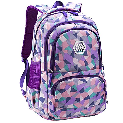 BOZEVON School Bag - Primary Girls Children's Ridges Protection Reduce Burden Backpack - for 8-12 Years Old (Style 1)