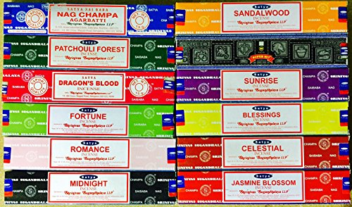 SATYA SAI BABA VARIETY MIX 12 X 15G VARIOUS FRAGRANCES TOGETHER