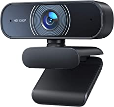 RALENO 1080P Webcam, Dual Built-in Microphones, Full HD Video Camera for Computers PC Laptop Desktop, USB Plug and Play, C...