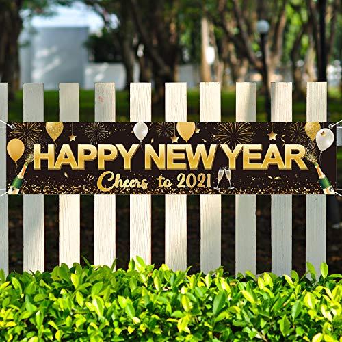 Bandera de Happy New Year 2021, Fondo Bandera Letrero Grande Negro Dorado de Tela de Happy New Year Bandera de Cheer to 2021 para Celebraciones de Nochevieja, 71 x 15,7 Pulgadas