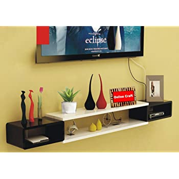 onlinecraft Wooden Wall Set top Box Stand (wtite, Black)