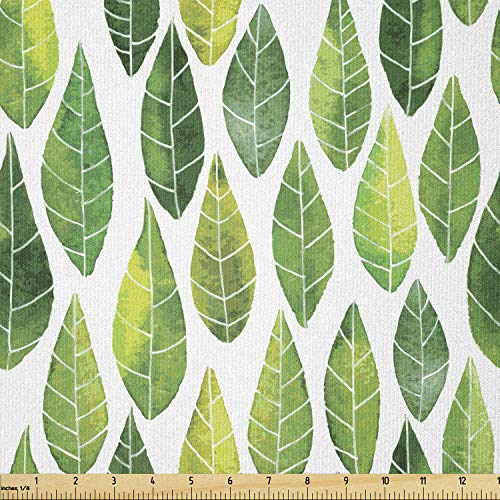 Lunarable Green Fabric by The Yard, Watercolor Forest Leaves Pattern Abstract Image in Order Print, Stretch Knit Fabric for Clothing Sewing and Arts Crafts, 1 Yard, Forrest Green