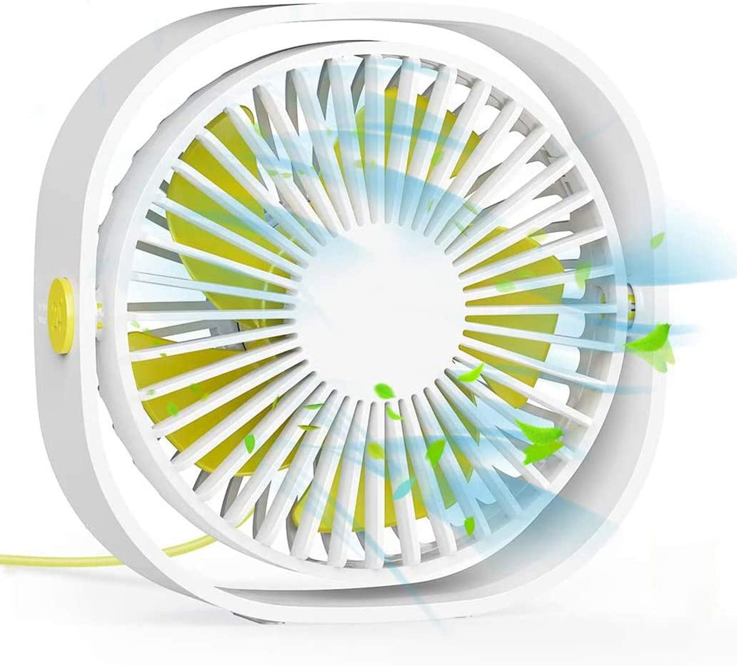 2020 New USB Desk Fan, mini fan 4 Inch with 3 Speeds Strong Wind and 360° Rotatable,Portable Desktop fan quiet Suitable for Sleep with baby,Reading,Work from home, Garden play, Outdoor -White