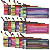21 piezas 7 colores cremallera malla bolsa para almacenamiento papelería suministros cosméticos viaje accesorios
