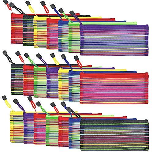 21 piezas 7 colores bolsa de malla con cremallera para