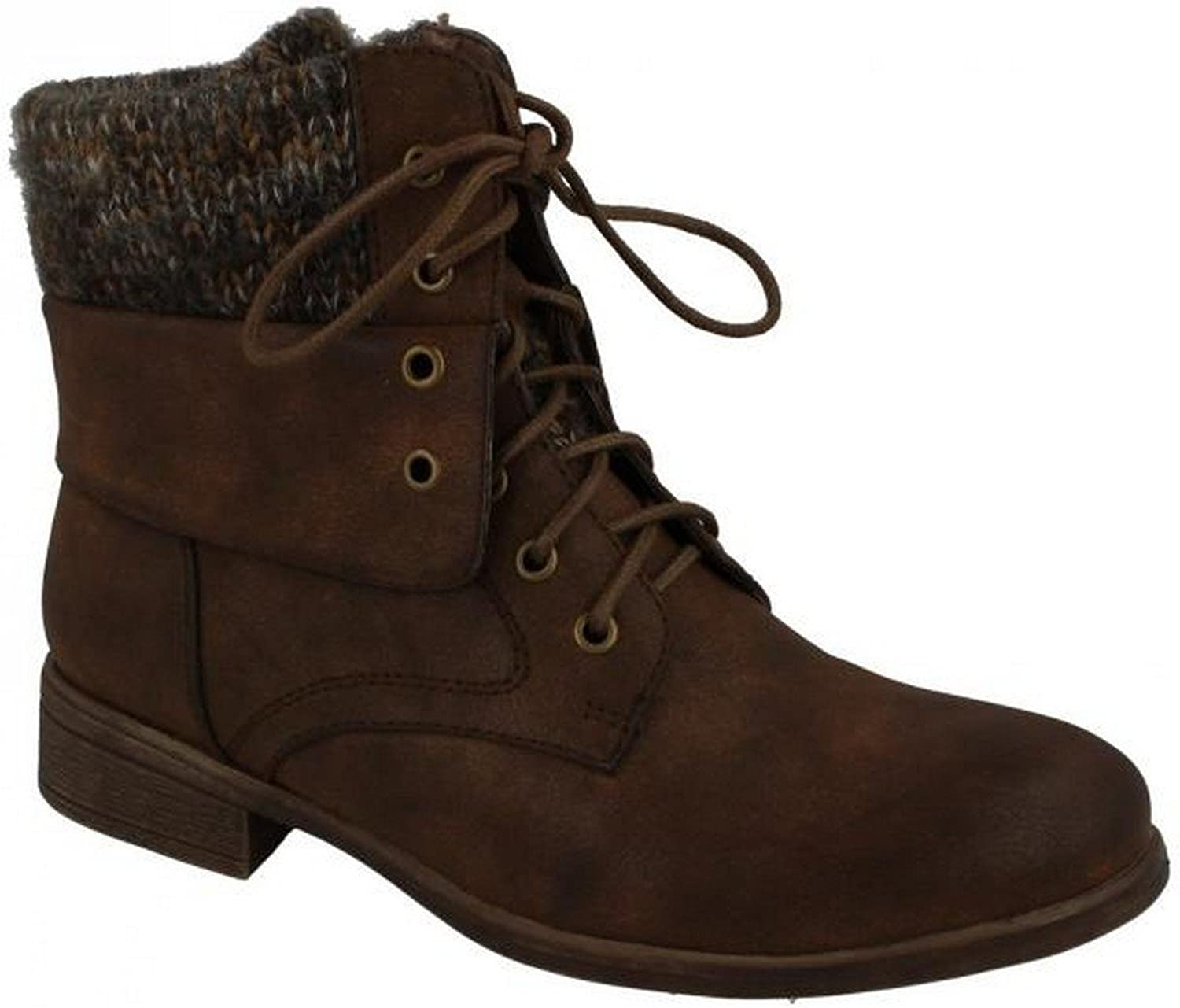 Spot On Womens Ladies Mid Heel Lace Up Ankle Boots