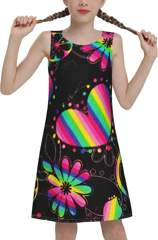 Rainbow Heart Butterfly Sleeveless Dress for Girls Casual Printed Lightweight Skirt