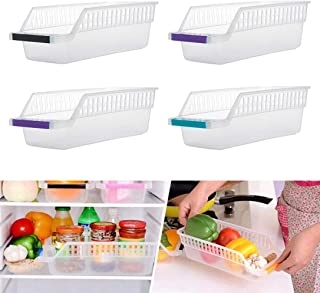 INOVERA (LABEL) Plastic Fridge Space Saver Food Storage Organizer Basket Rack, Multi-Color (Pack of 4, Made in India)