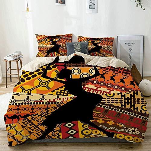 Juego de funda nórdica beige, silueta de una mujer indígena llevando una canasta en patrones tradicionales, juego de cama decorativo de 3 piezas con 2 fundas de almohada Fácil cuidado Anti-alérgico Su