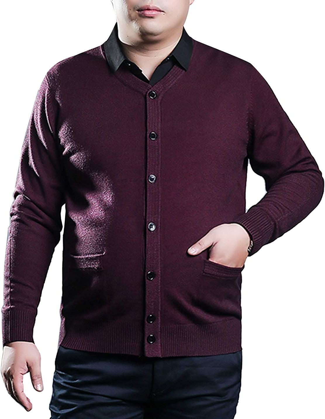 PEHMEA Men's Oversized Button Front Long Sleeve Cardigan Sweater