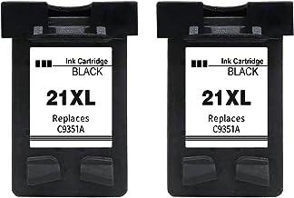 Gmoher Remanufacturado Cartucho de Tinta para HP 21XL Cartucho de Tinta HP 21 C9351A Compatible con HP Deskjet F2280 F380 F4180 D2360 D1460 HP PSC 1410 (2 Negro)
