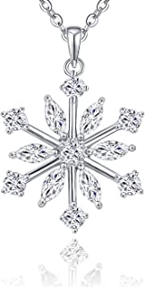 925 Sterling Silver White Blue Cubic Zirconia Winter Frozen Snowflake Pendant Necklace,18-20''