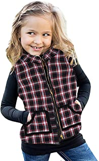 Ivay Girls Buffalo Cotton Plaid Quilted Vest Cute Puff Lined Gilet
