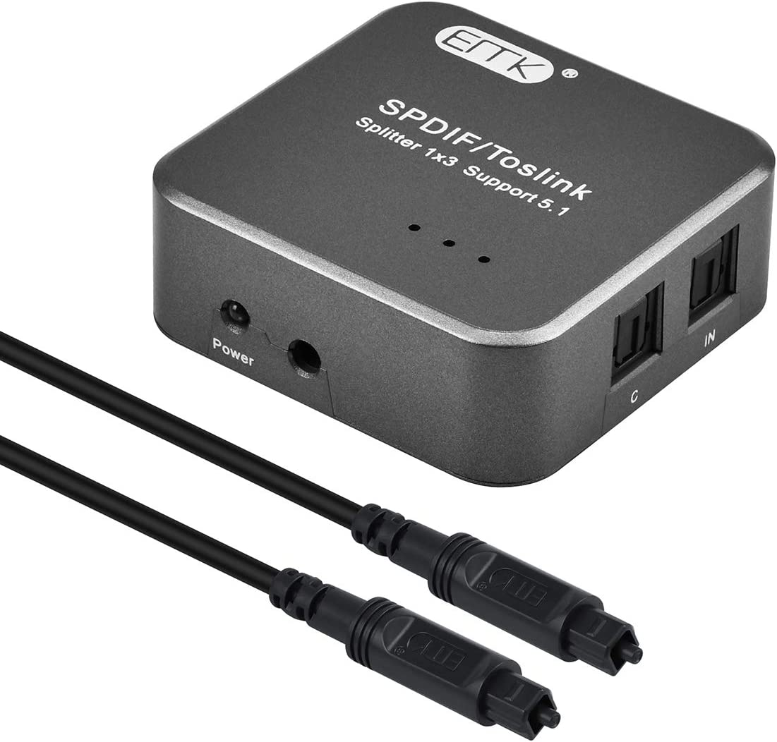 EMK 1X3 S/PDIF Toslink Digital Optical Audio Splitter[1x3 S/PDIF Toslink Splitter]with Optical Audio Cable for Home Theater, Sound bar, TV, PS4,Blu-ray,Xbox (1X3 S/PDIF Toslink Splitter)