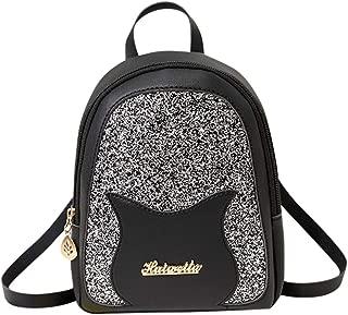 Fashion Sequin Lady Shoulders Small Backpack Letter Purse Mobile Phone Messenger Bag (Black)