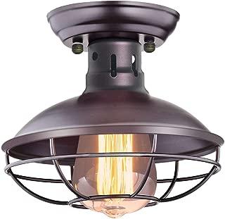 CHICLUX Industrial Vintage Ceiling Light Metal Cage Pendant Lighting Oil Rubbed Bronze Semi Flush Mount Ceiling Light for Hallway Kitchen Garage Porch Bathroom