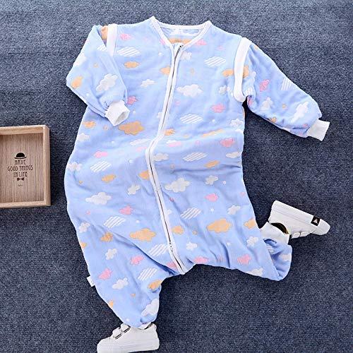 Unisex-baby-inbakerdekens, slaapzak voor baby's en peuters met 6 lagen katoengaas-blauwe wolken_Kledinglengte 80, baby-wikkeldeken anti-kick